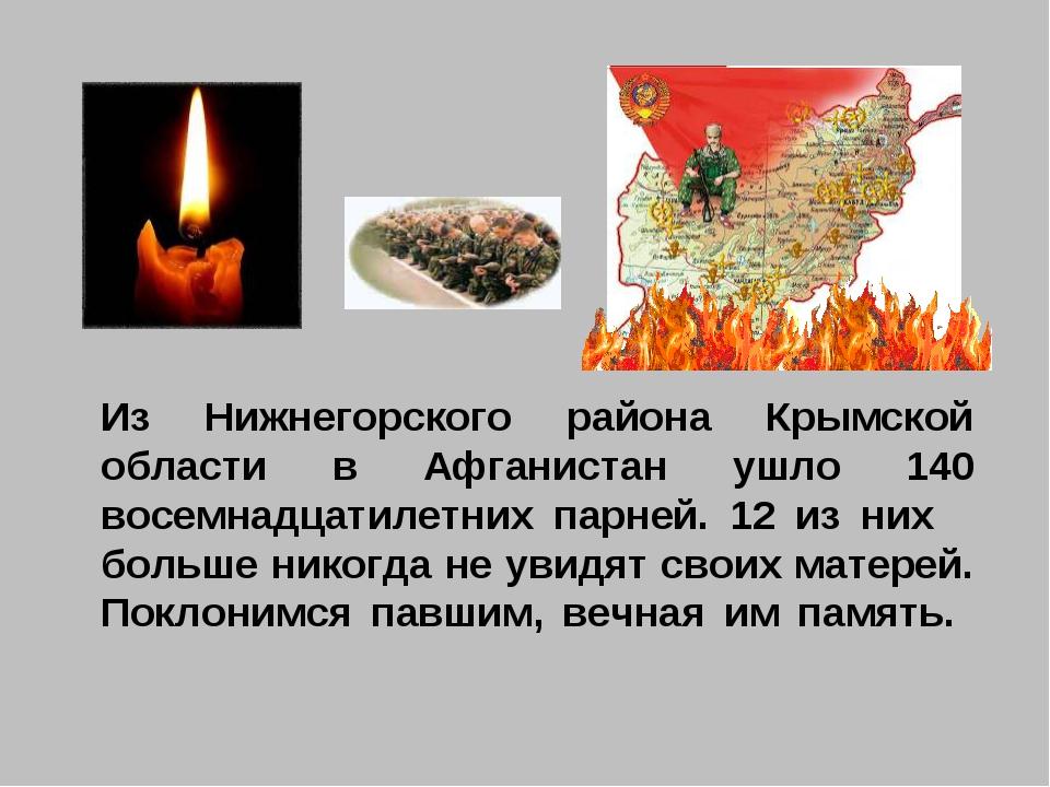 Из Нижнегорского района Крымской области в Афганистан ушло 140 восемнадцатиле...