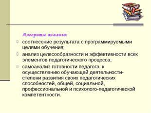 Алгоритм анализа: соотнесение результата с программируемыми целями обучения;