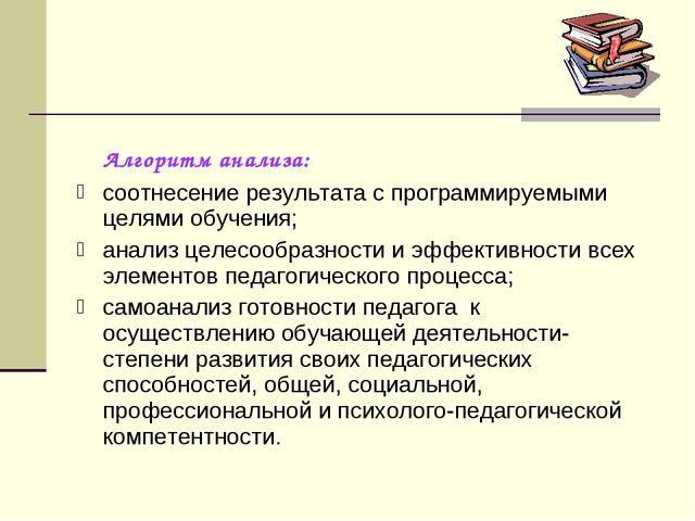 Алгоритм анализа: соотнесение результата с программируемыми целями обучения;...
