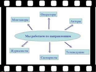 Мы работаем по направлениям Монтажеры Операторы Актеры Журналисты Сценаристы