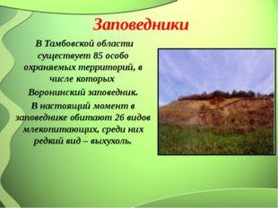 Заповедники В Тамбовской области существует 85 особо охраняемых территорий, в