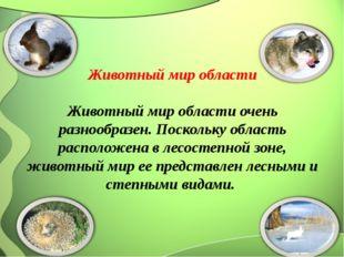 Животный мир области  Животный мир области очень разнообразен. Поскольку об