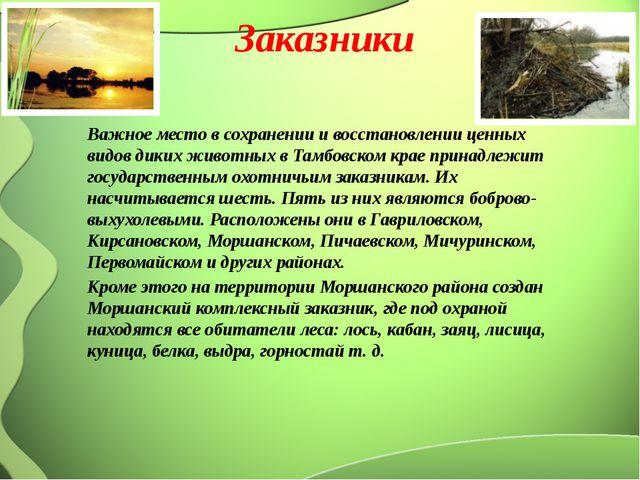 Заказники Важное место в сохранении и восстановлении ценных видов диких живот...