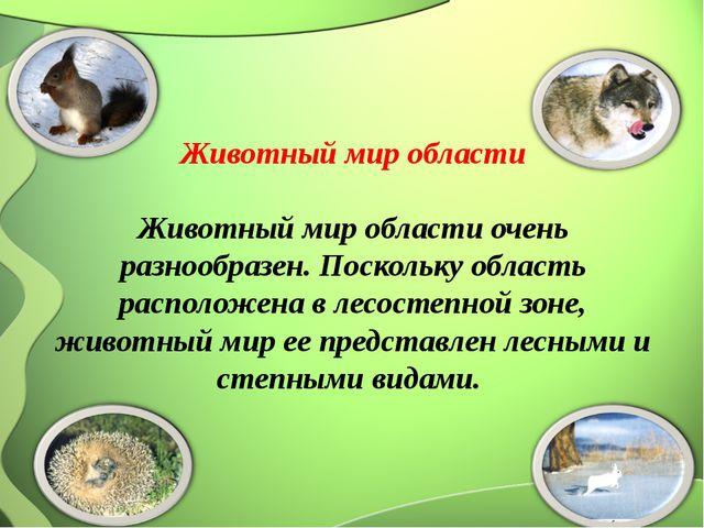 Животный мир области  Животный мир области очень разнообразен. Поскольку об...