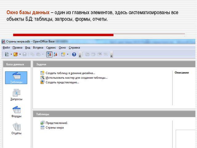 Окно базы данных – один из главных элементов, здесь систематизированы все объ...