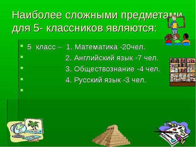 Наиболее сложными предметами для 5- классников являются: 5 класс – 1. Математ...