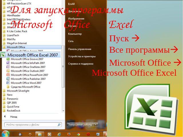 Пуск  Все программы Microsoft Office  Microsoft Office Excel Для запуска п...