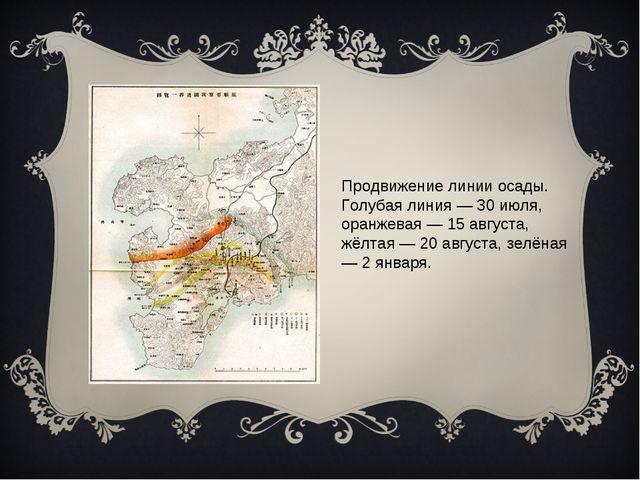 Продвижение линии осады. Голубая линия — 30 июля, оранжевая — 15 августа, жё...