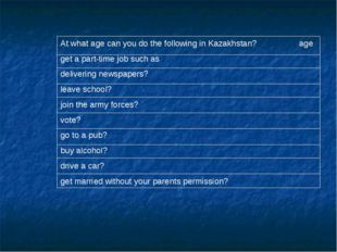 At what age can you do the following in Kazakhstan? age get a part-time job s