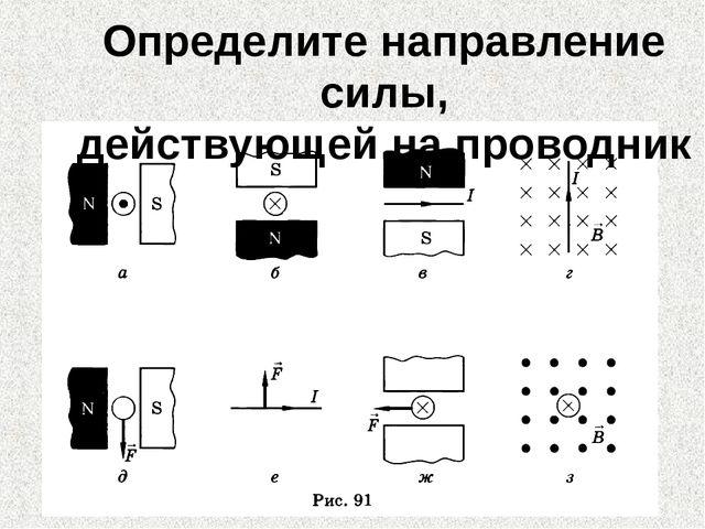 Определите направление силы, действующей на проводник