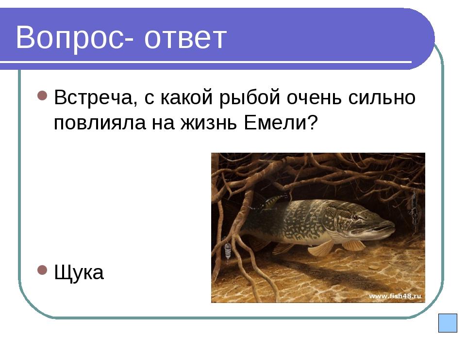 Вопрос- ответ Встреча, с какой рыбой очень сильно повлияла на жизнь Емели? Щука