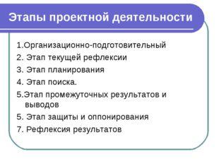 Этапы проектной деятельности 1.Организационно-подготовительный 2. Этап текуще