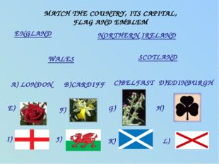 MATCH THE COUNTRY, ITS CAPITAL, FLAG AND EMBLEM ENGLAND WALES SCOTLAND NORTHE