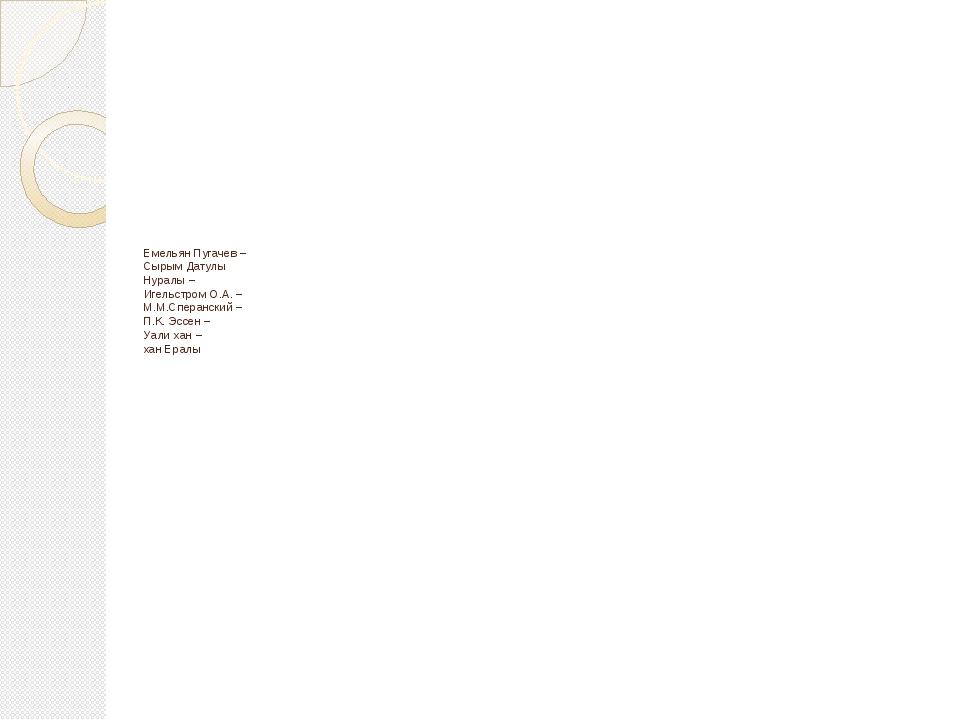 Емельян Пугачев – Сырым Датулы Нуралы – Игельстром О.А. – М.М.Сперанский – П....