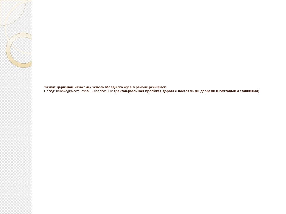 Захват царизмом казахских земель Младшего жуза в районе реки Илек Повод: необ...