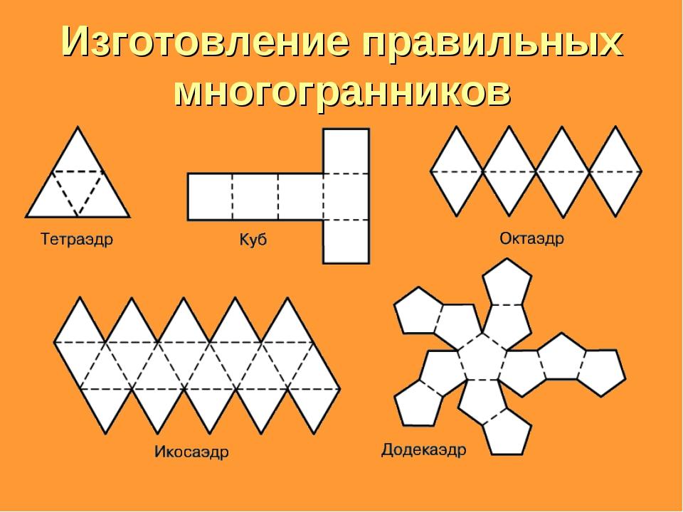 Изготовление правильных многогранников