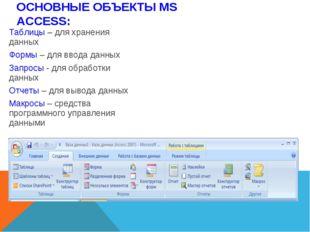 Таблицы – для хранения данных Формы – для ввода данных Запросы - для обработ