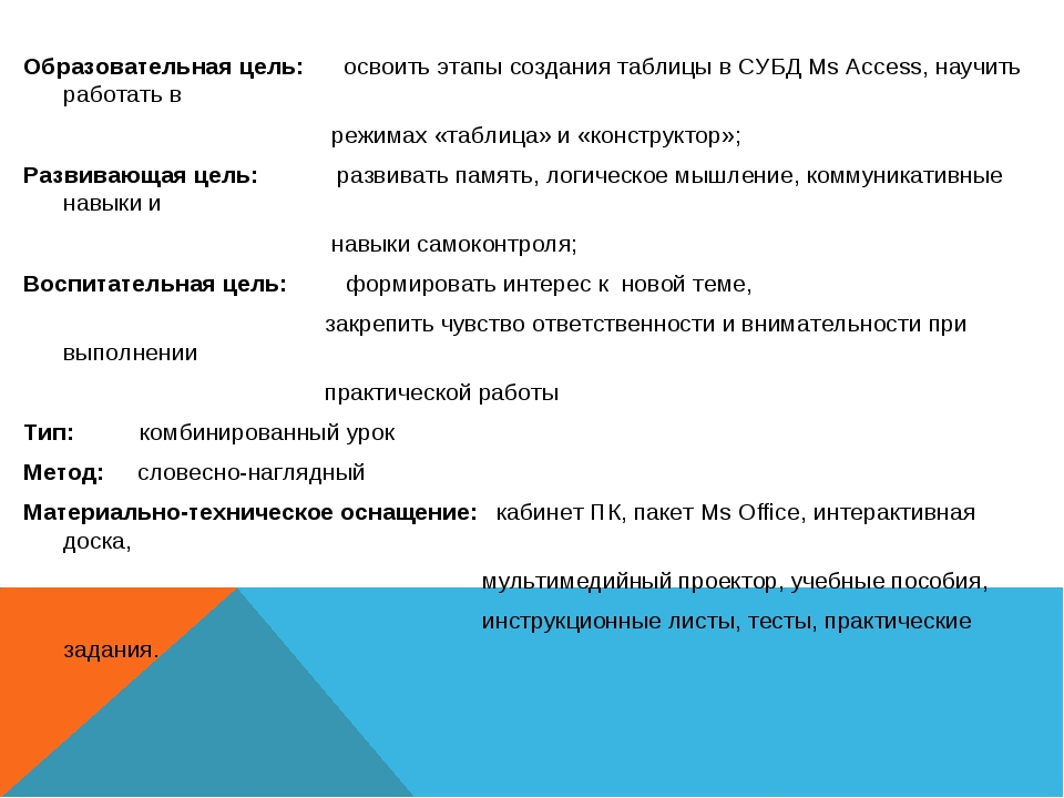 Образовательная цель: освоить этапы создания таблицы в СУБД Ms Access, научи...