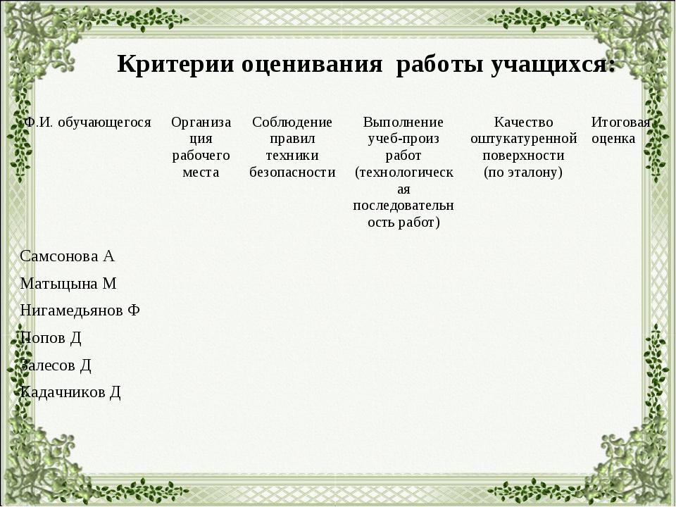 Критерии оценивания работы учащихся: Ф.И. обучающегосяОрганизация рабочего м...