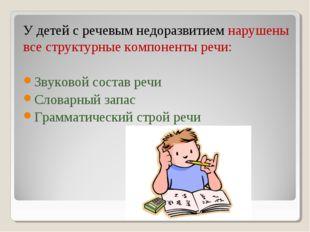 У детей с речевым недоразвитием нарушены все структурные компоненты речи: Зв