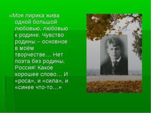 «Моя лирика жива одной большой любовью, любовью к родине. Чувство родины – ос