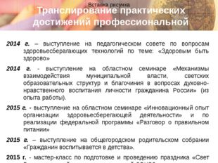 Транслирование практических достижений профессиональной деятельности 2014 г.