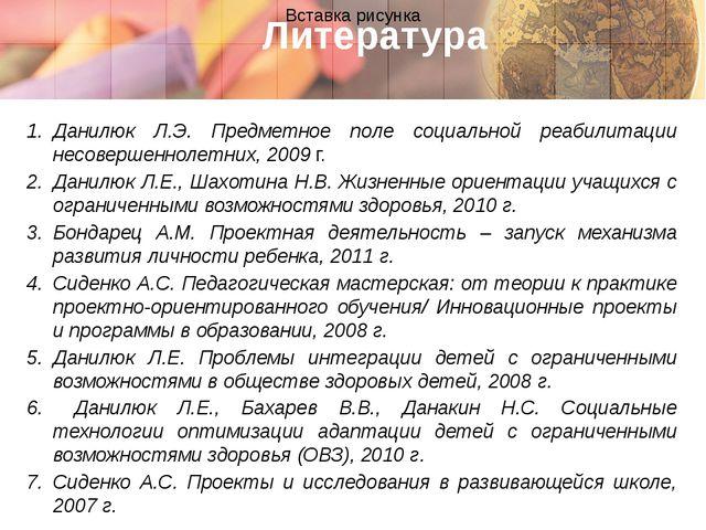 Литература Данилюк Л.Э. Предметное поле социальной реабилитации несовершеннол...