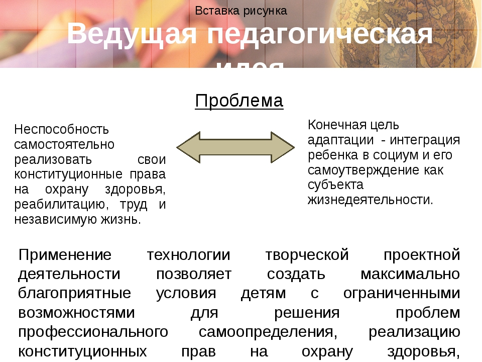 Ведущая педагогическая идея Применение технологии творческой проектной деятел...