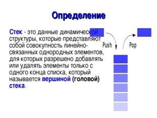 Определение Стек - это данные динамической структуры, которые представляют со