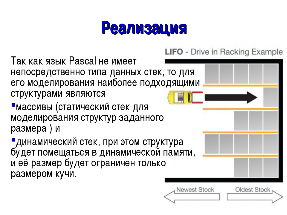 Реализация Так как язык Pascal не имеет непосредственно типа данных стек, то...