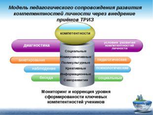 Модель педагогического сопровождения развития компетентностей личности через