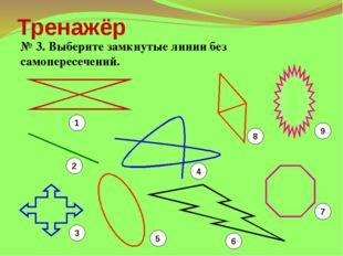 Тренажёр № 3. Выберите замкнутые линии без самопересечений. 1 2 3 5 6 7 4 8 9