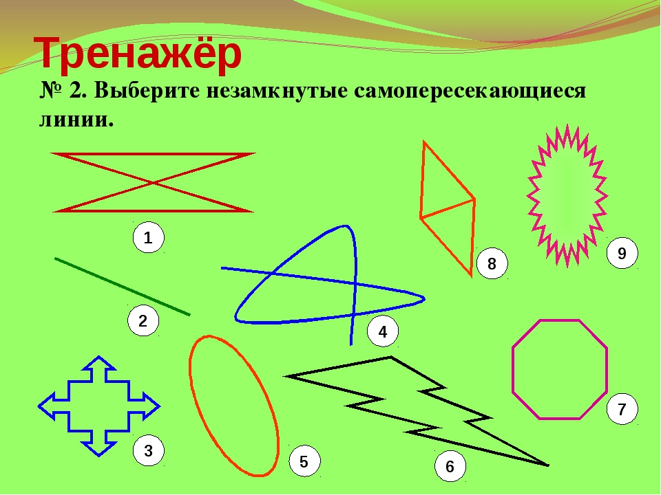 Тренажёр № 2. Выберите незамкнутые самопересекающиеся линии. 1 2 3 5 6 7 4 8 9