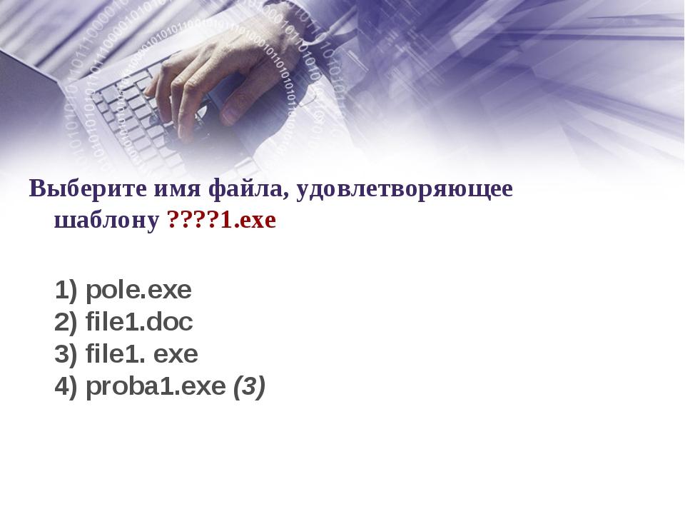 Выберите имя файла, удовлетворяющее шаблону ????1.ехе 1) pole.exe 2) file1.do...