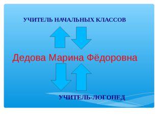 Дедова Марина Фёдоровна УЧИТЕЛЬ НАЧАЛЬНЫХ КЛАССОВ УЧИТЕЛЬ-ЛОГОПЕД