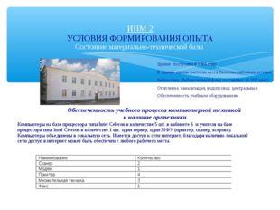 ИПМ 2 УСЛОВИЯ ФОРМИРОВАНИЯ ОПЫТА Состояние материально-технической базы Здани