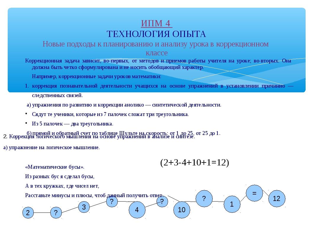 ИПМ 4 ТЕХНОЛОГИЯ ОПЫТА Новые подходы к планированию и анализу урока в коррекц...