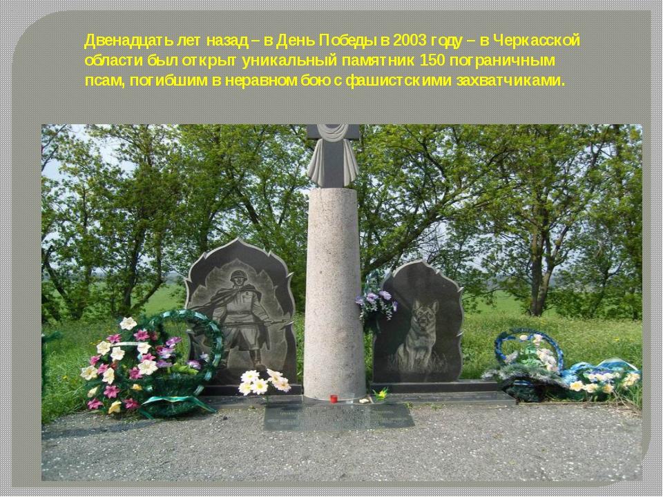 Двенадцать лет назад – в День Победы в 2003 году – в Черкасской области был о...