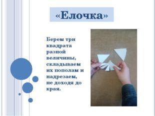 «Елочка» Берем три квадрата разной величины, складываем их пополам и надрезае