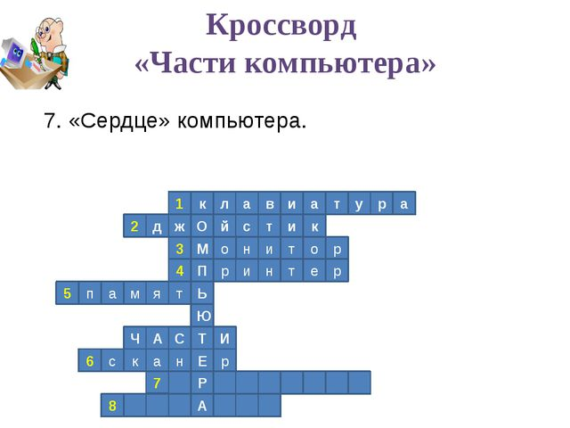 1 к л а в и а т у р а 2 к д ж О й с т и р о т и н о М 3 4 П р и н т е р Ь т я...