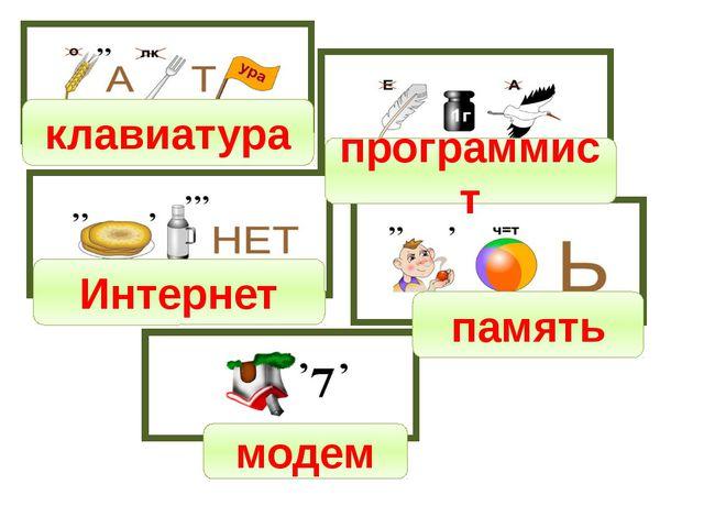 клавиатура программист Интернет память модем