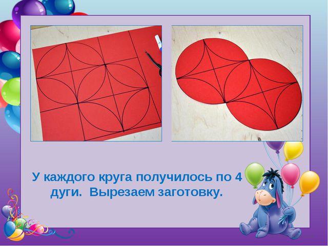 Tatyana Latesheva У каждого круга получилось по 4 дуги. Вырезаем заготовку.