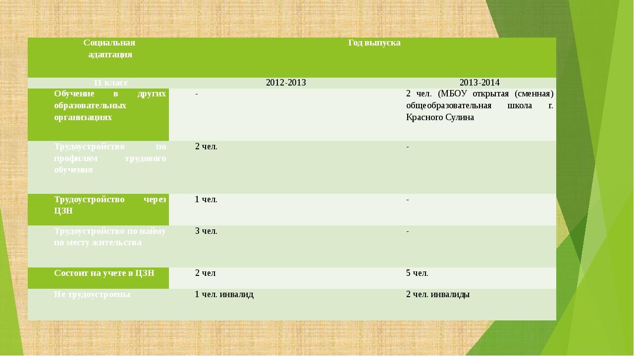 Социальная адаптация Год выпуска 11 класс 2012-2013 2013-2014 Обучение в дру...