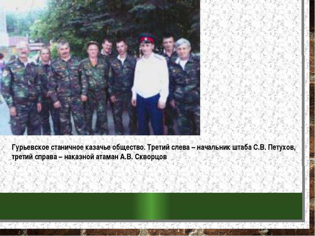 Гурьевское станичное казачье общество. Третий слева – начальник штаба С.В. Пе...