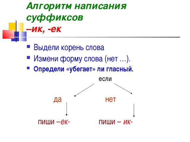 Алгоритм написания суффиксов –ик, -ек Выдели корень слова Измени форму слова...