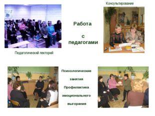 Педагогический лекторий Консультирование Психологические занятия Профилактика