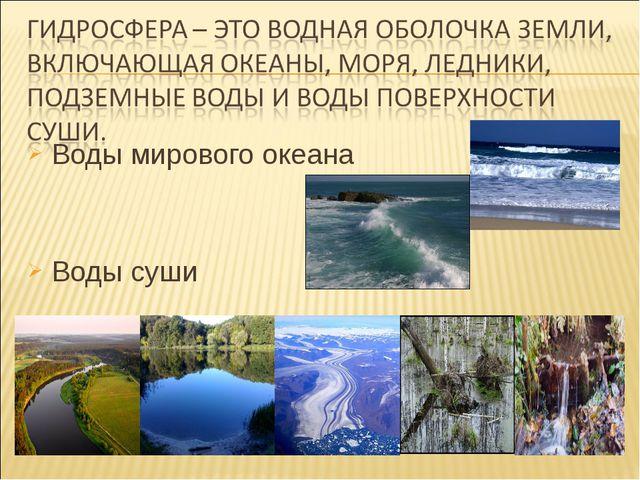 Воды мирового океана Воды мирового океана Воды суши