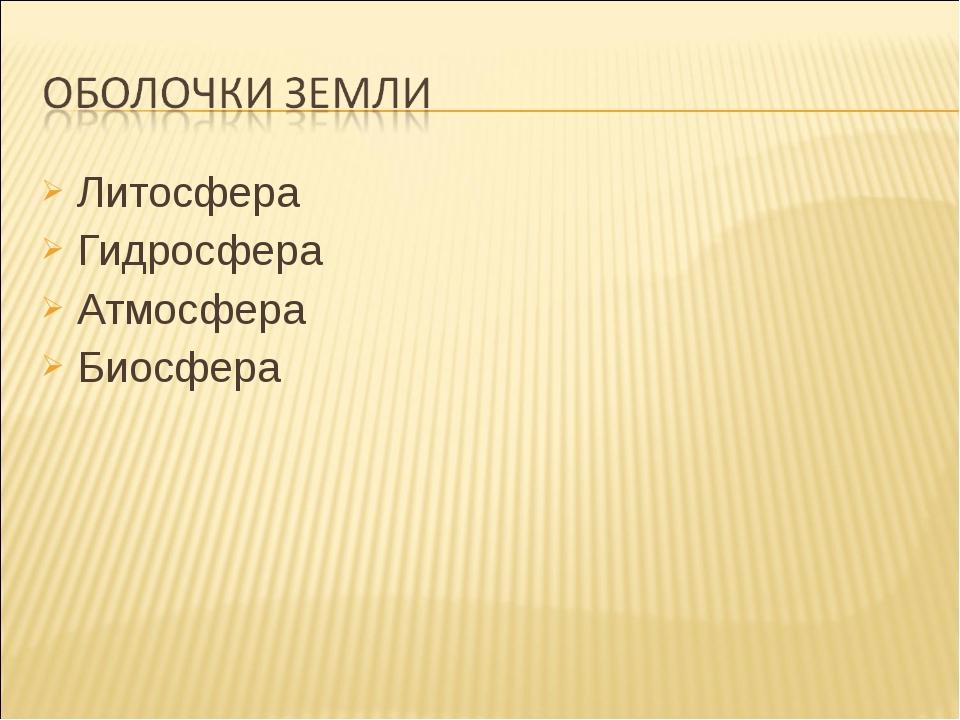 Литосфера Литосфера Гидросфера Атмосфера Биосфера