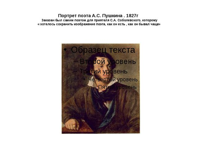 Портрет поэта А.С. Пушкина . 1827г Заказан был самим поэтом для приятеля С.А...