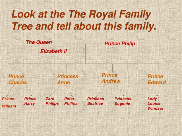 Look at the The Royal Family Tree and tell about this family. The Queen Eliza...